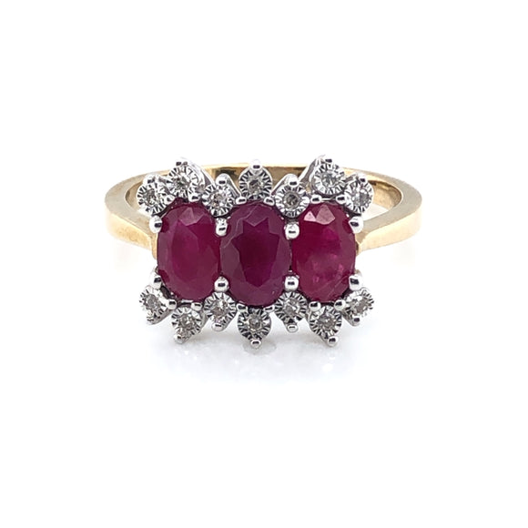 9ct Gold Ruby & Diamond 3-Row Ring