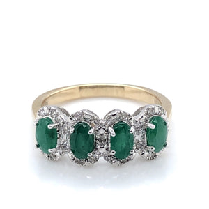 9ct Gold Emerald & Diamond Four-Cluster Ring