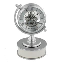 Wm Widdop Quartz Silver Compass Skeleton Clock