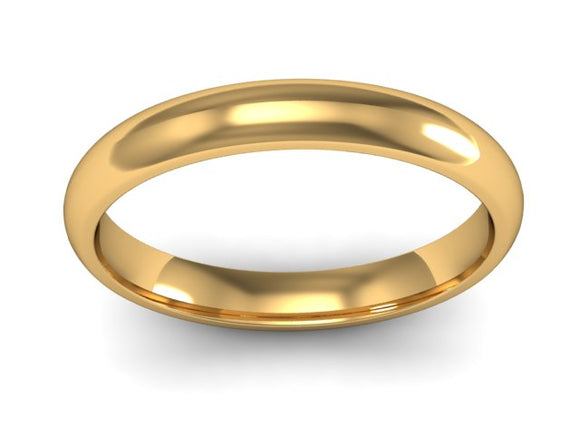 9ct Gold 3mm Court Wedding Band