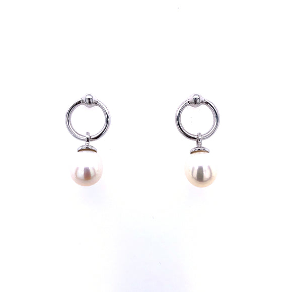 9ct White Gold Pearl & Circle Drop Earrings