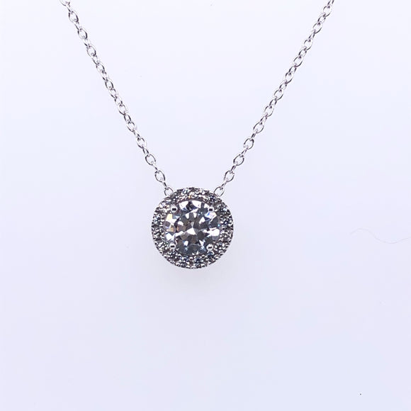9ct White Gold CZ Halo Slider Pendant