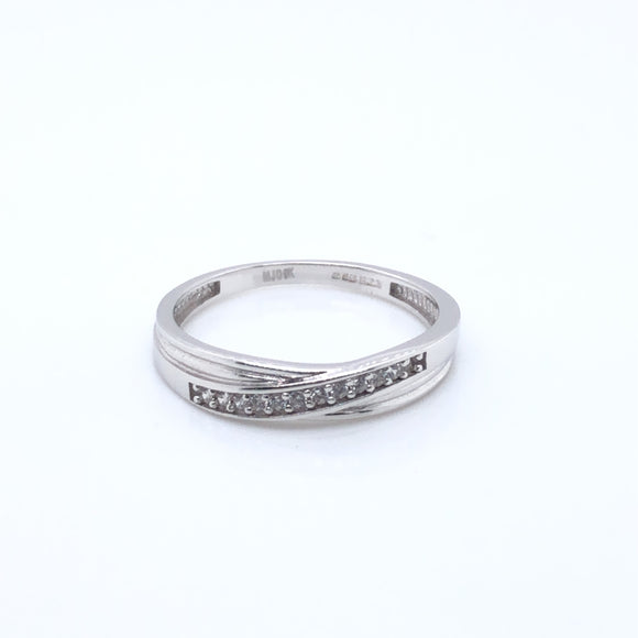 9ct White Gold CZ Crossover Eternity Ring