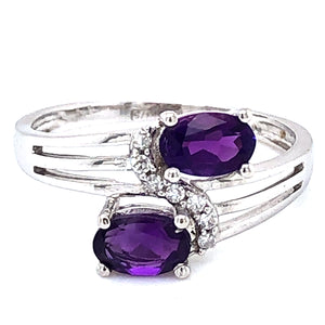 9ct  White Gold Amethyst & Diamond Crossover Ring