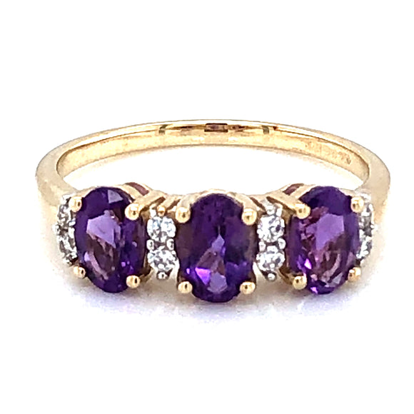 9ct Gold Amethyst & CZ Trilogy Ring