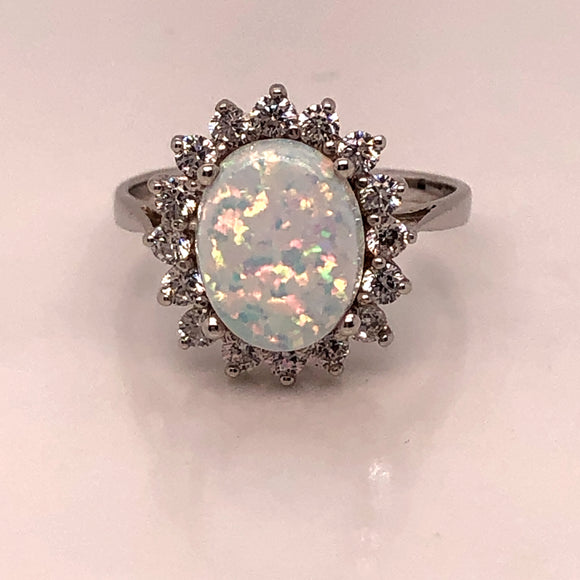 9ct  White Gold  Created Opal & CZ Oval Cluster Ring