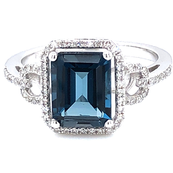 9ct  White Gold London Blue Topaz & Diamond Vintage Cocktail Ring