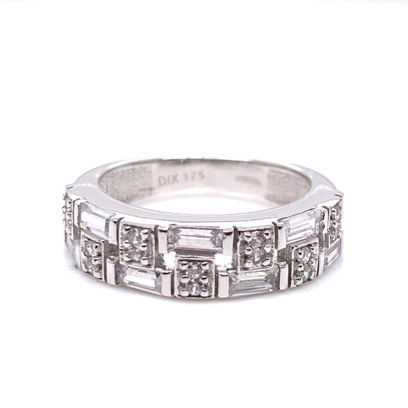 9ct White Gold CZ Double Row Eternity Ring