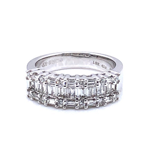 18ct White Gold Diamond Baguette Triple Row Ring