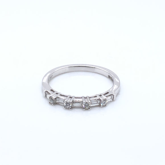 18ct White Gold Baguette/Round 0.40ct Diamond Eternity Ring