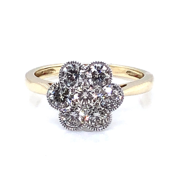 9ct Gold 1.00ct Diamond Vintage Cluster Ring