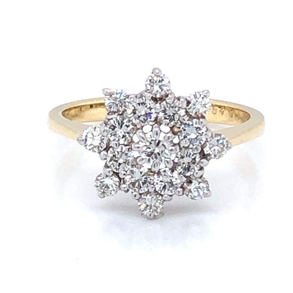 18ct Gold Diamond Star Cluster Ring