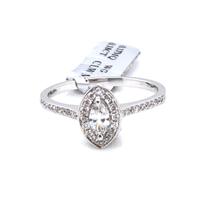 18ct White Gold Diamond Marquise Halo Ring
