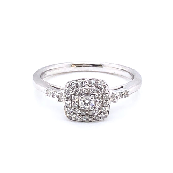 9ct White Gold Diamond Cushion Halo Ring