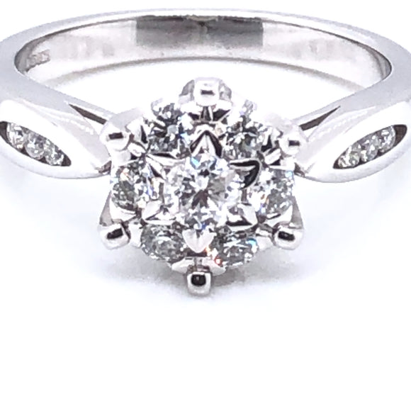 9ct White Gold 0.50ct Diamond Cluster Ring