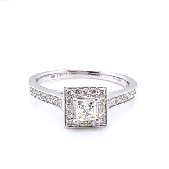 18ct White Gold Diamond Princess Halo Ring