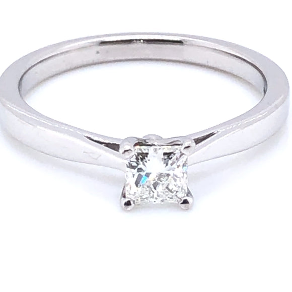 18ct White Gold 0.40ct Princess Diamond Classic Solitaire Ring