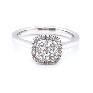 18ct White Gold 0.50ct Diamond Cushion Halo Ring