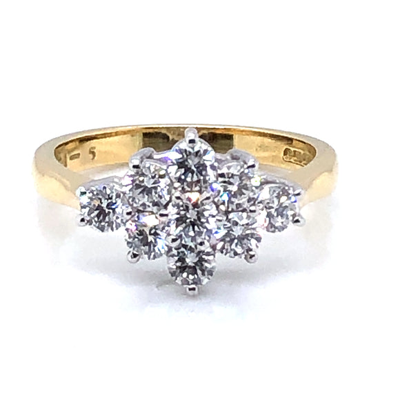 18ct Gold 1.00ct Diamond Boat Cluster Ring