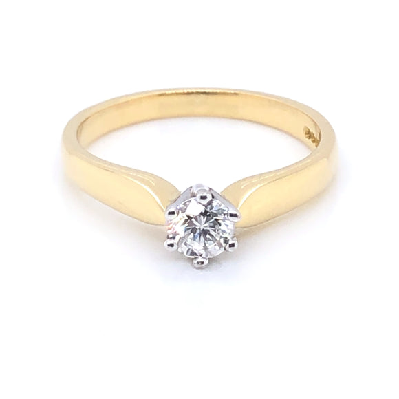 18ct Gold 0.30ct Diamond Classic Solitaire Ring