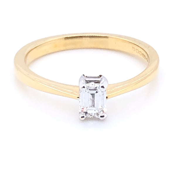 18ct Gold Emerald-cut Diamond Classic Solitaire Ring