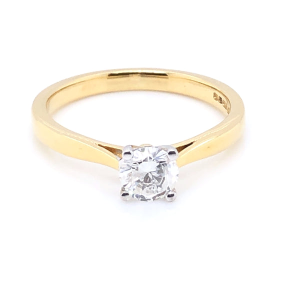 18ct Gold 0.50ct Diamond Classic Solitaire Ring