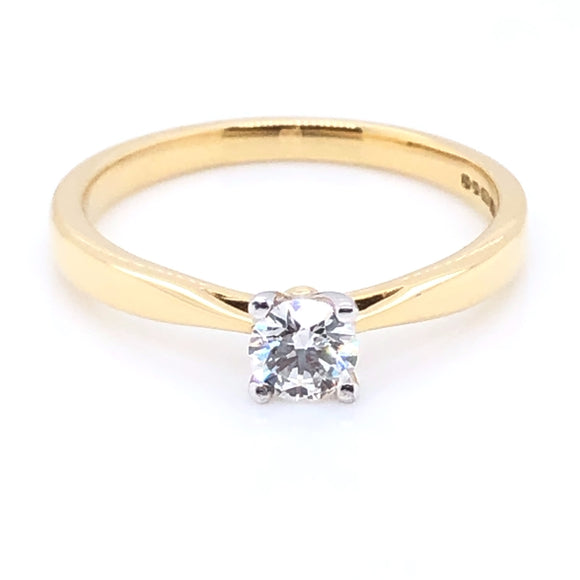18ct Gold Diamond Classic Solitaire Ring