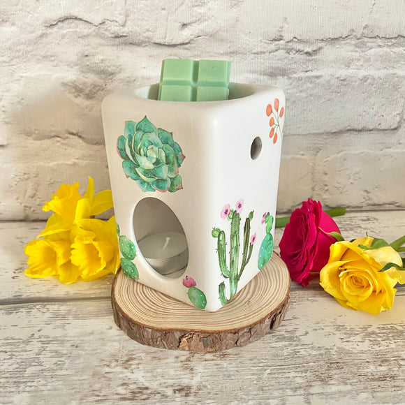 Watercolour Style Cactus Wax Burner