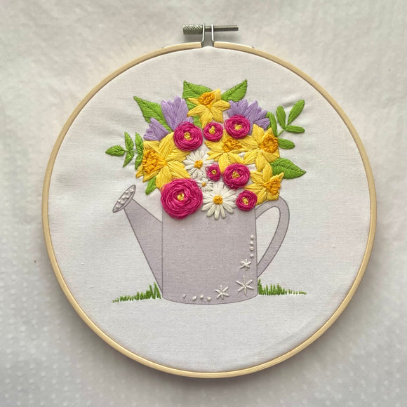 Floral Watering Can Embroidery Kit