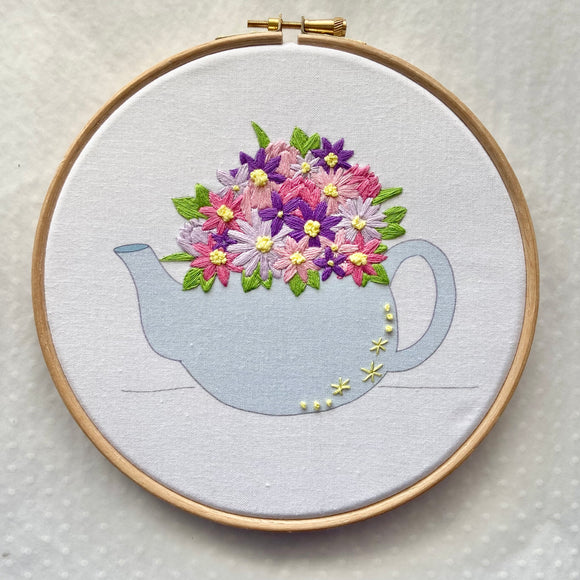 Floral Tea Pot Embroidery Kit