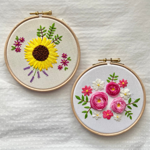 Floral Embroidery Kit Bundle