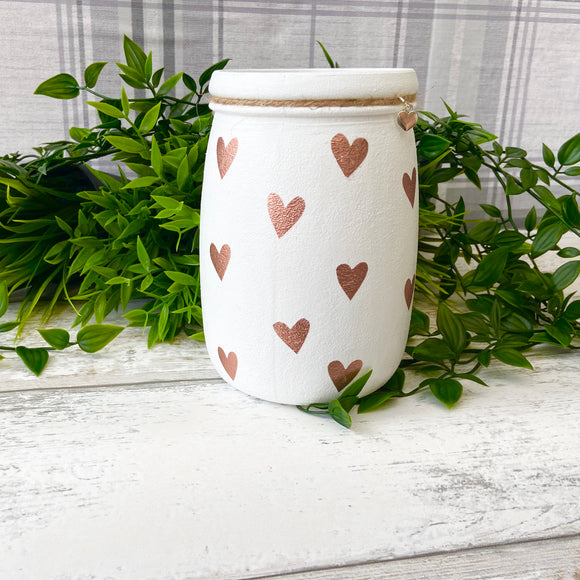 Rose Gold Heart Large Jar