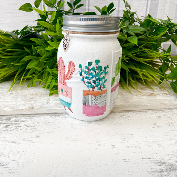 Cactus Party Decoupage Medium Jar