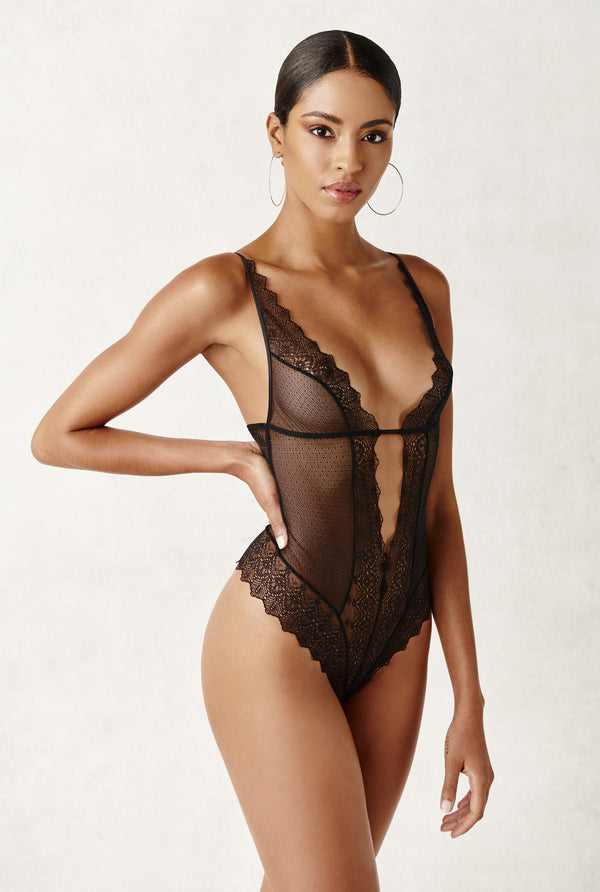 Geneva Body - Black lace and mesh pearl thong body suit