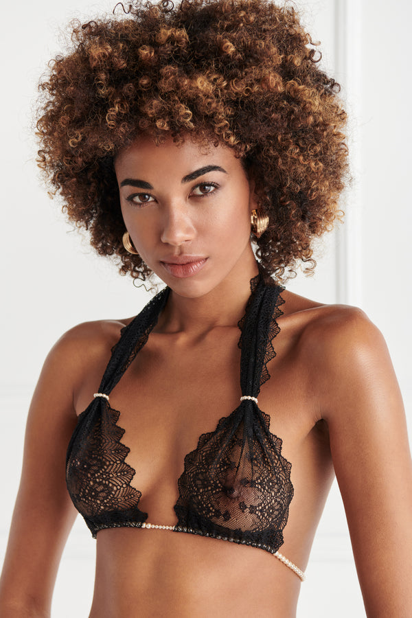 Geneva Bra - black mesh and lace pearl bra