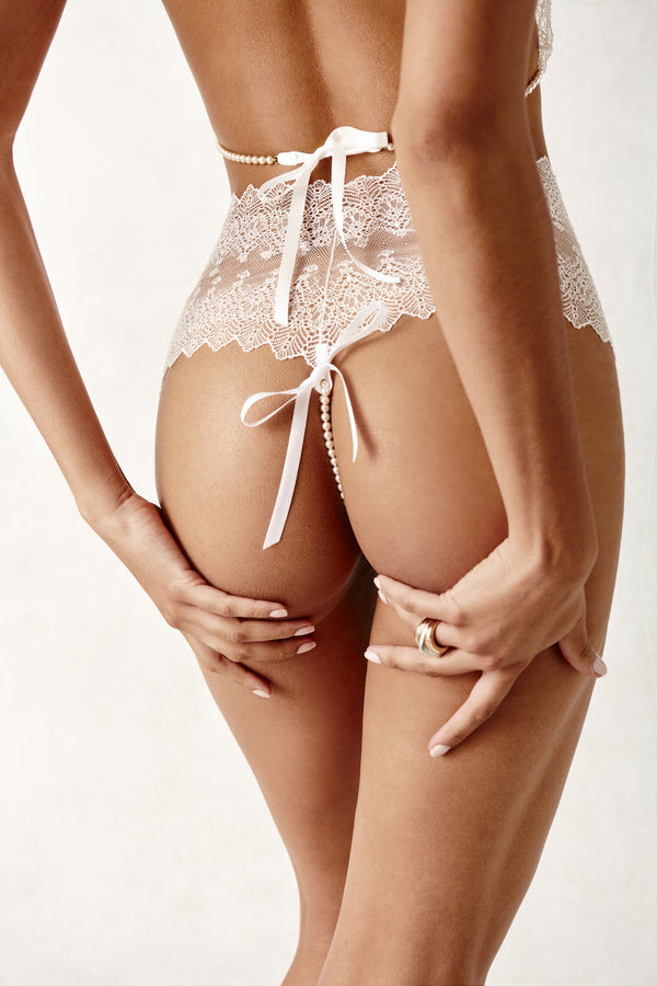 Geneva Panty - white lace and mesh pearl thong