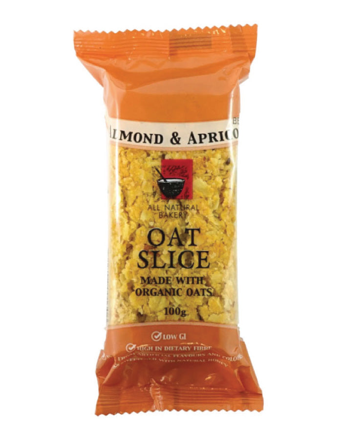 All Natural Bakery Organic Oat Slice Almond & Apricot 14 x 100g - Fresh Food Enterprises