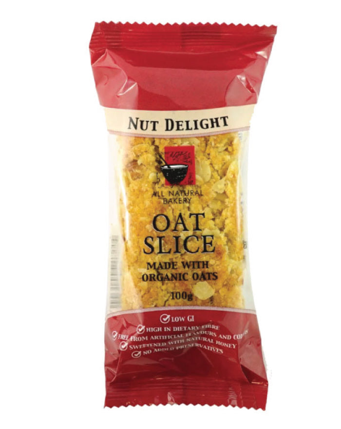 All Natural Bakery Organic Oat Slice Nut Delight 14 x 100g - Fresh Food Enterprises