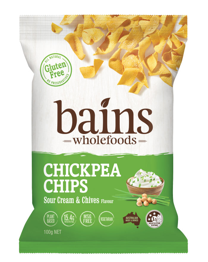 Bains Wholefoods Chickpea Chips Sour Cream & Chives 100g