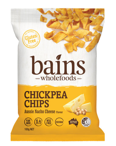 Bains Wholefoods Chickpea Chips Aussie Nacho Cheese 100g
