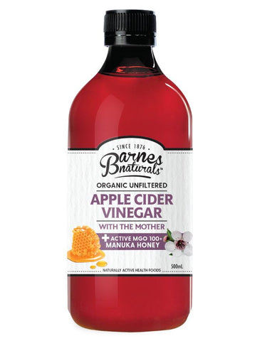 Barnes Naturals Organic Apple Cider Vinegar & Manuka 5+ 500ml - Fresh Food Enterprises