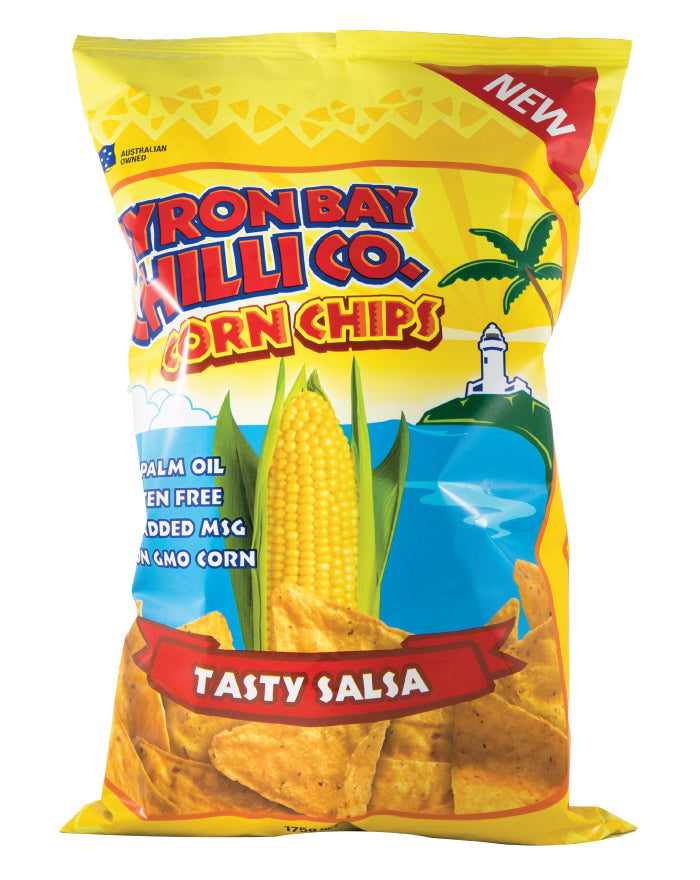 Byron Bay Chilli Cornchips Tasty Salsa 175g - Fresh Food Enterprises