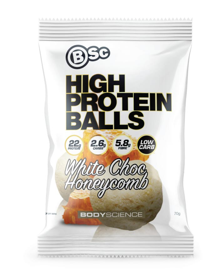 Body Science High Protein Balls Chocolate Honeycomb 8 x 70g - Fresh Food Enterprises
