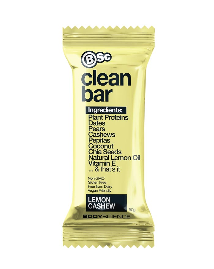 Body Science Clean Plant Protein Bar Lemon Cashew 12 x 50g - Fresh Food Enterprises