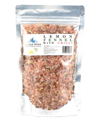 Crystal Mines Himalayan Pink Salt Lemon Fennel Chilli Salt 1 x 300g - Fresh Food Enterprises