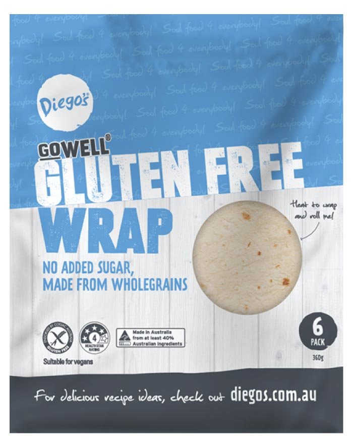 Diego's GoWELL Gluten Free Wrap 6pk 360g - Fresh Food Enterprises