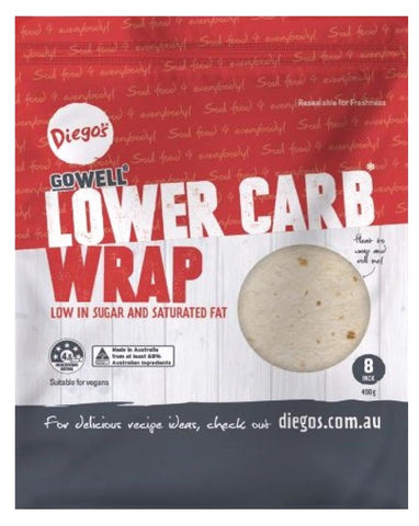 Diego's GoWELL Lower Carb Wrap 8pk 400g - Fresh Food Enterprises