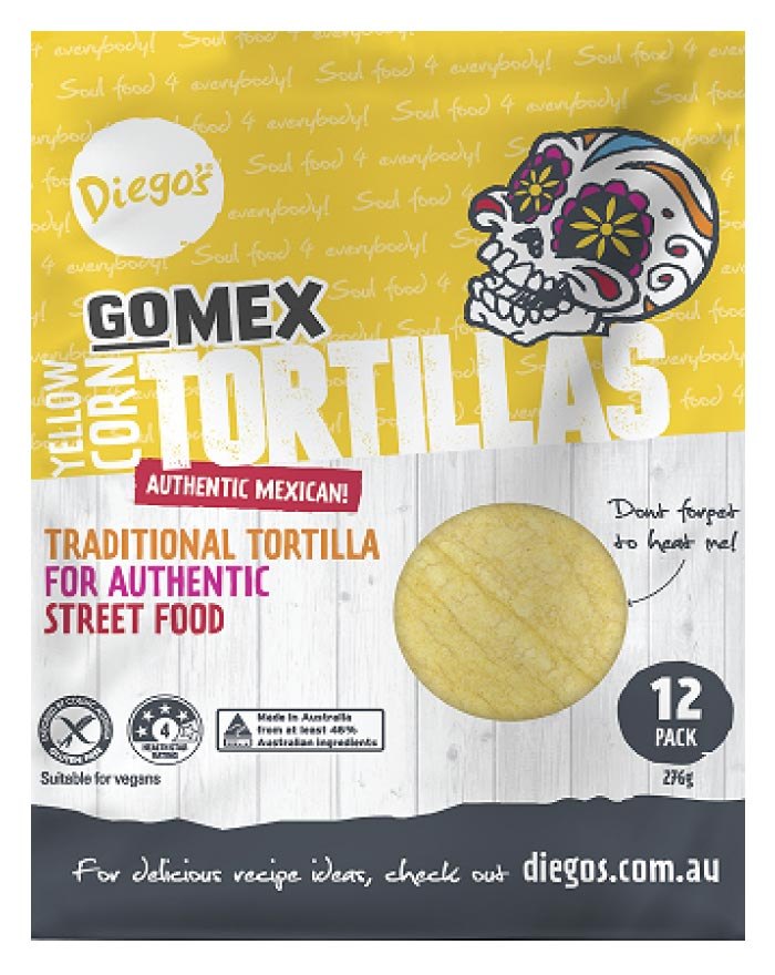 Diego's GoMEX Yellow Corn Tortilla 12pk 276g - Fresh Food Enterprises
