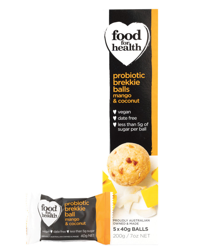 Food for Health Probiotic Brekkie Balls Mango & Coconut 200g