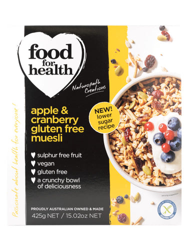 Food for Health Apple & Cranberry Gluten Free Muesli 425g